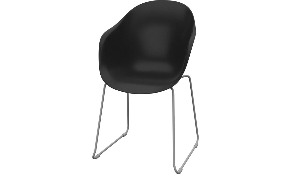 Sillas de comedor - Silla Adelaide (apta para uso interior y exterior) - En negro - Plástico