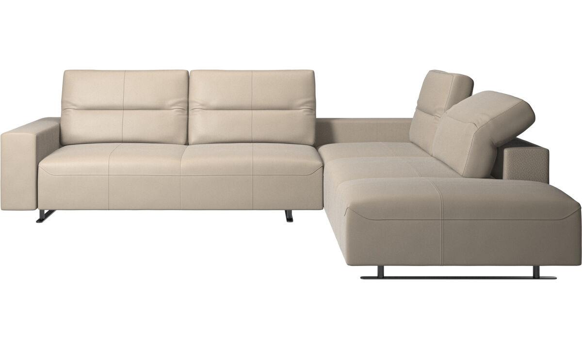 Corner sofas - Hampton corner sofa with adjustable back and storage on left side - Beige - Leather