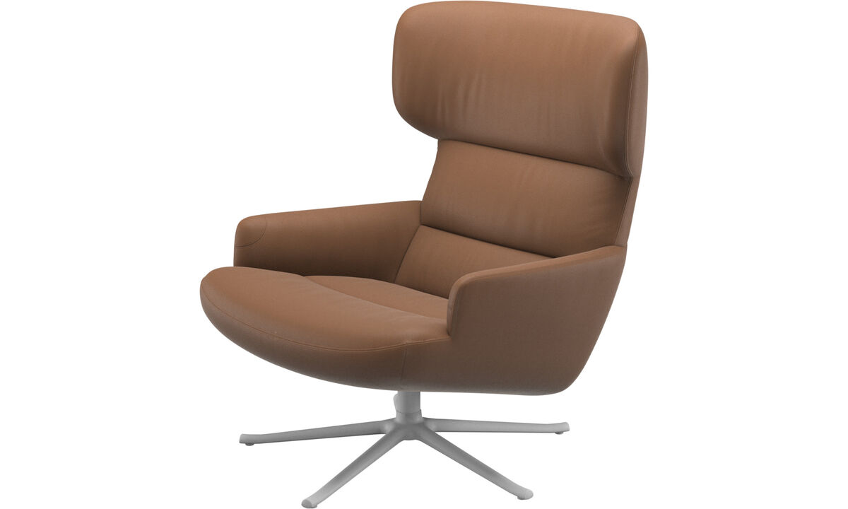 Armchairs - Trento chair with swivel function - Brown - Leather