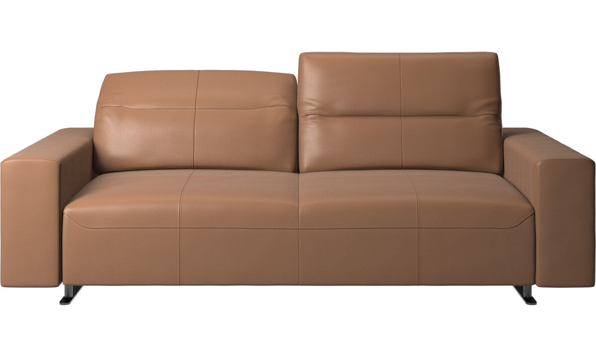 2.5 seater sofas - Hampton sofa with adjustable back and storage on the right side - Brown - Leather