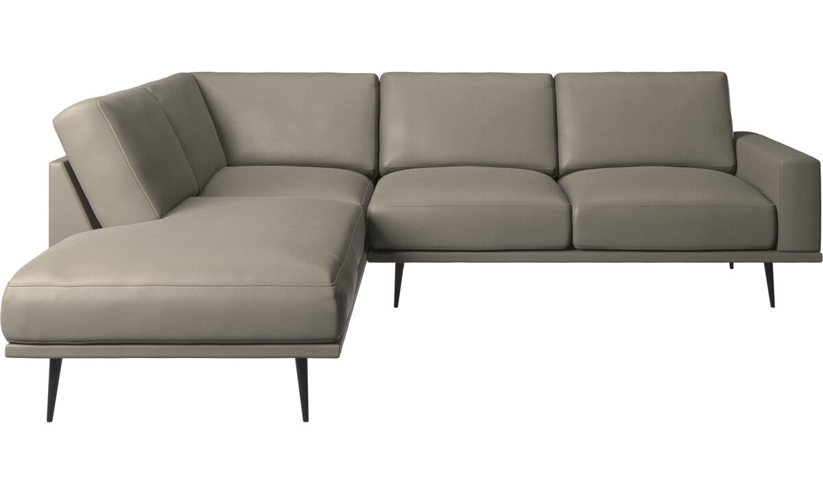 Sofás con lado abierto - sofá Carlton con módulos de descanso - En gris - Piel