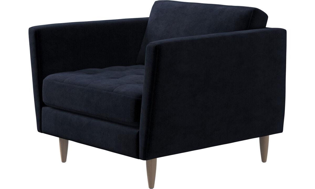 Nouveaux designs - fauteuil Osaka, assise capitonnée - Bleu - Tissu