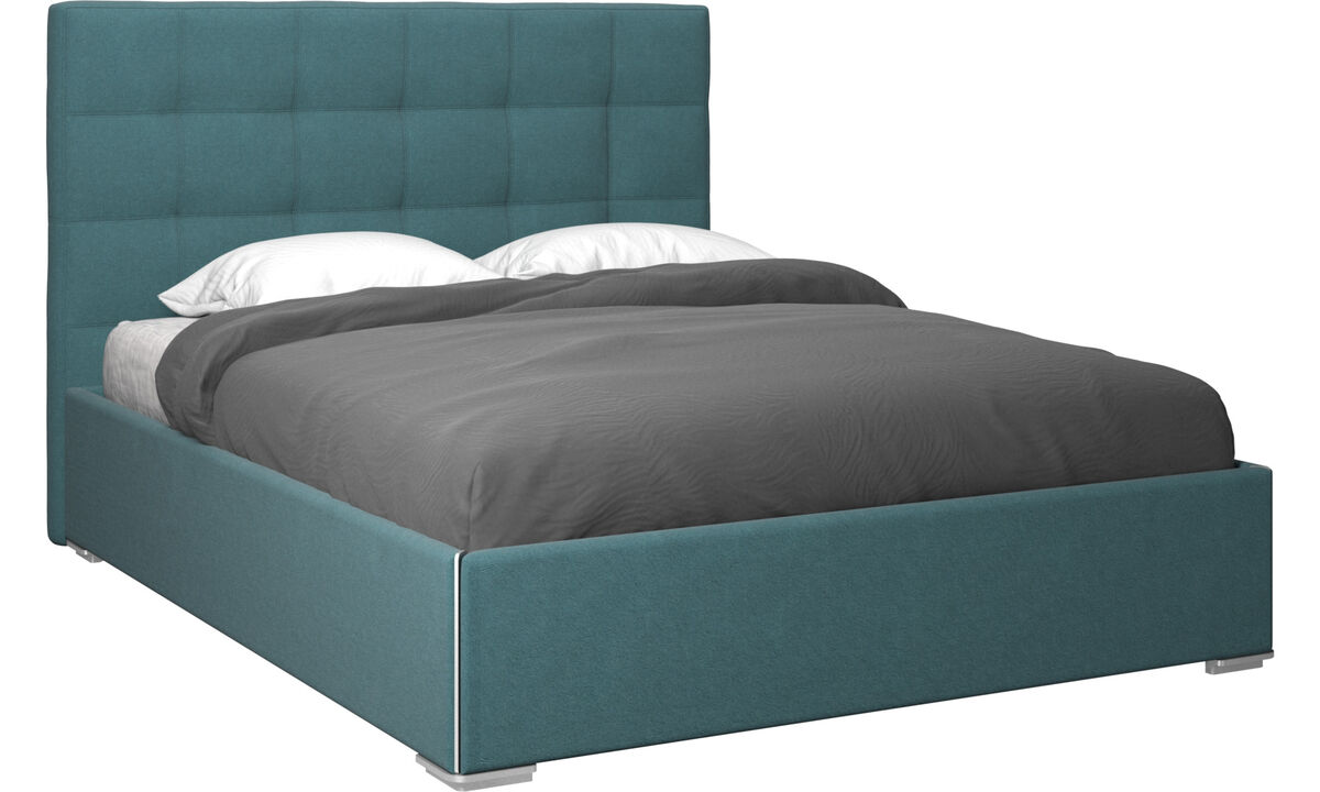 Beds - Mezzo storage bed with lift-up frame and slats, excl. mattress - Blue - Fabric