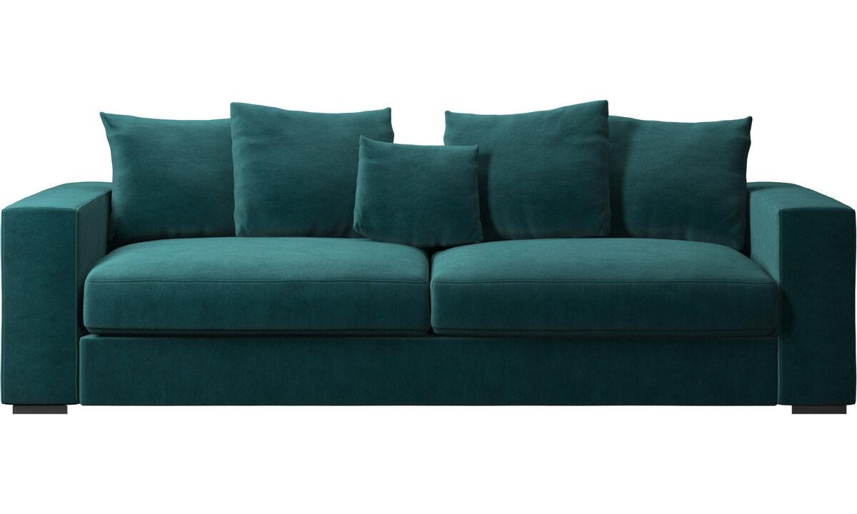 Sofás de 3 plazas - sofá Cenova - En azul - Tela