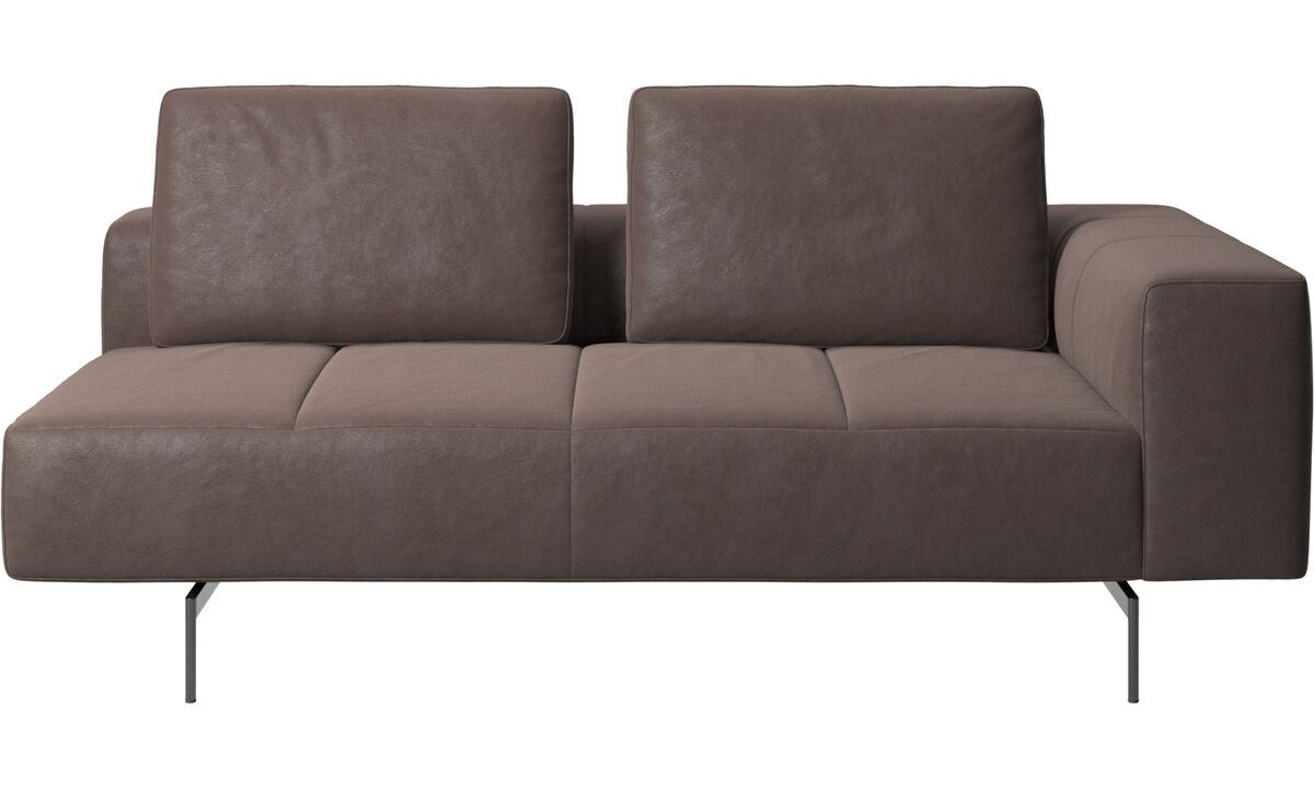 Modular sofas - Amsterdam 2,5 seating module, armrest right - Brown - Leather