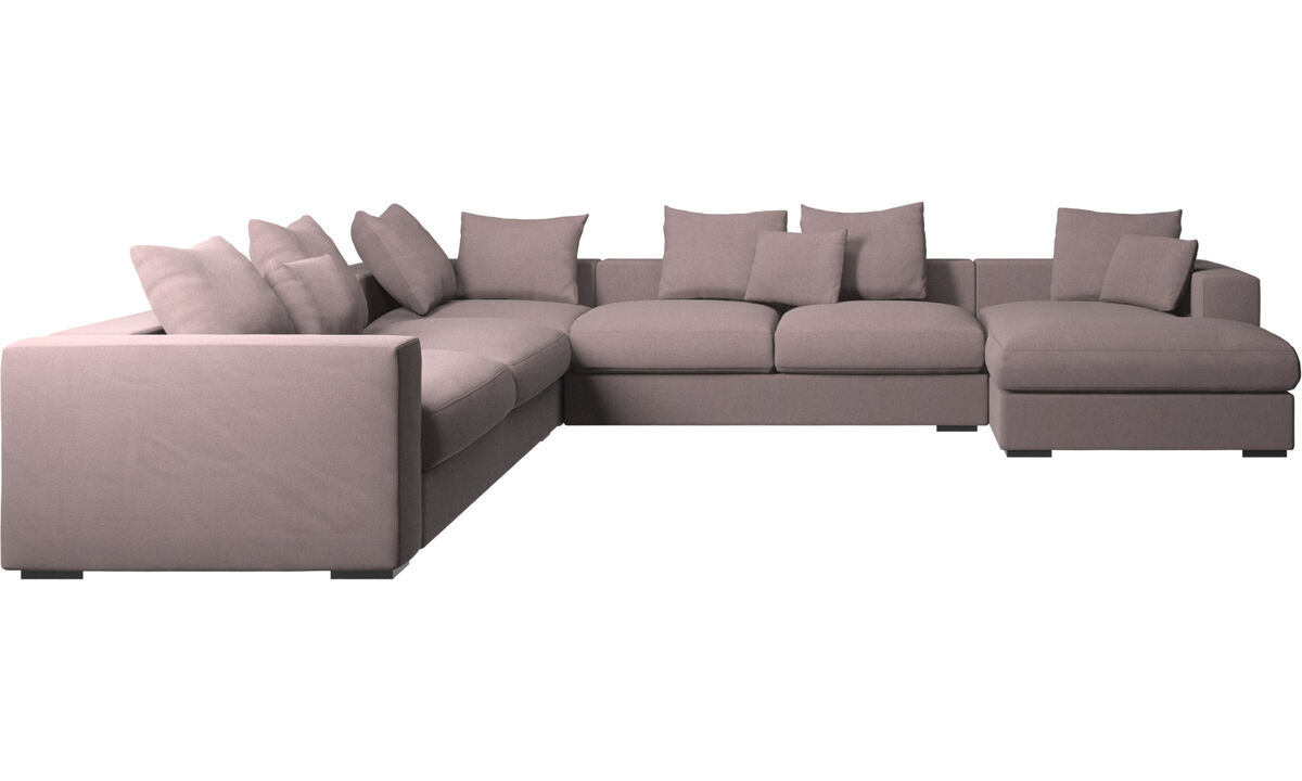 Chaise longue sofas - Cenova corner sofa with resting unit - Purple - Fabric
