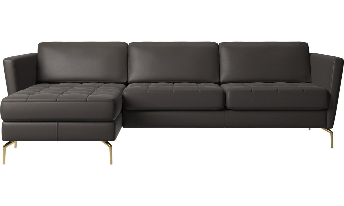 Chaise longue sofas - Osaka sofa with resting unit, tufted seat - Brown - Leather