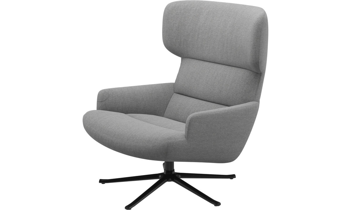 Armchairs - Trento chair with swivel function - Gray - Fabric