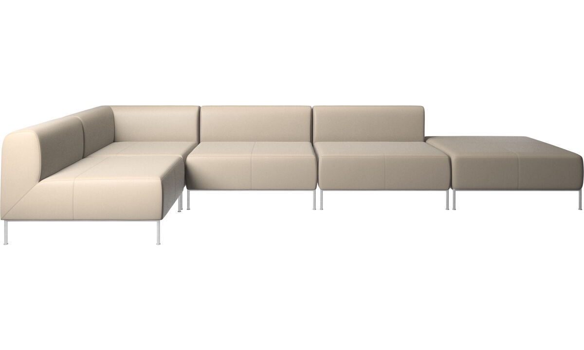 Corner sofas - Miami corner sofa with footstool on right side - Beige - Leather