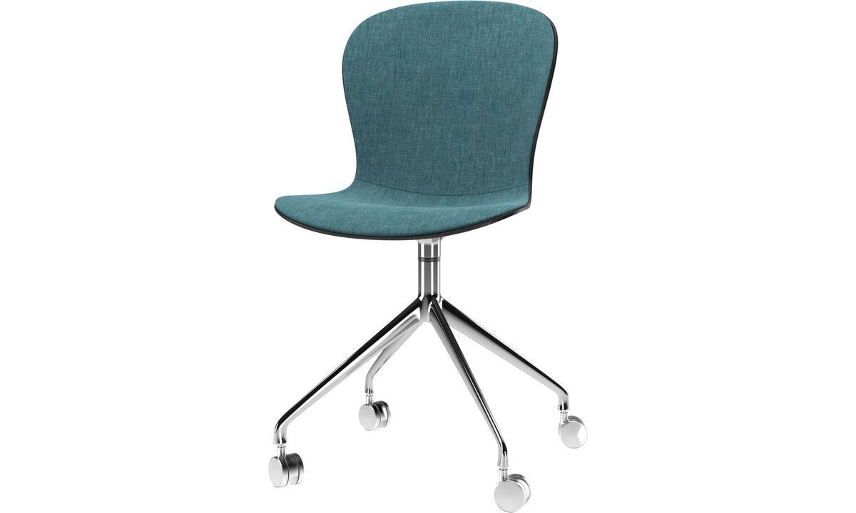 Καρέκλες τραπεζαρίας - Καρέκλα Adelaide με μηχανισμό περιστροφής και ρόδες - Μπλε - Ύφασμα