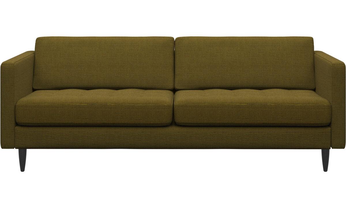 2.5 seater sofas - Osaka sofa, tufted seat - Yellow - Fabric