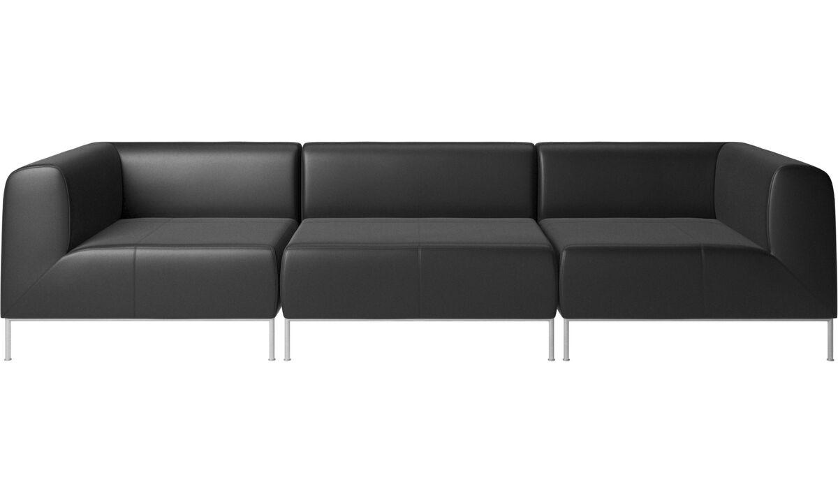 3 seater sofas - Miami sofa - Black - Leather
