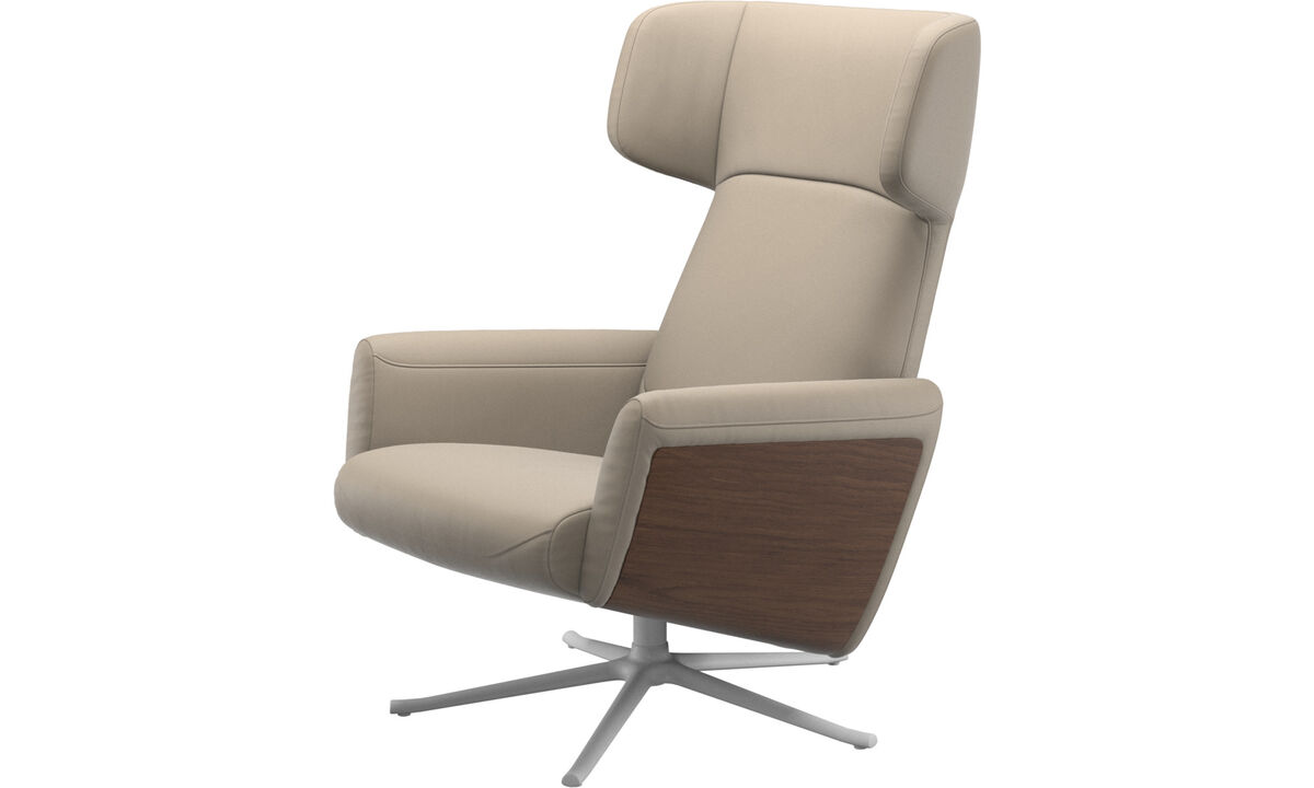 Armchairs - Lucca wing recliner with swivel function - Beige - Leather
