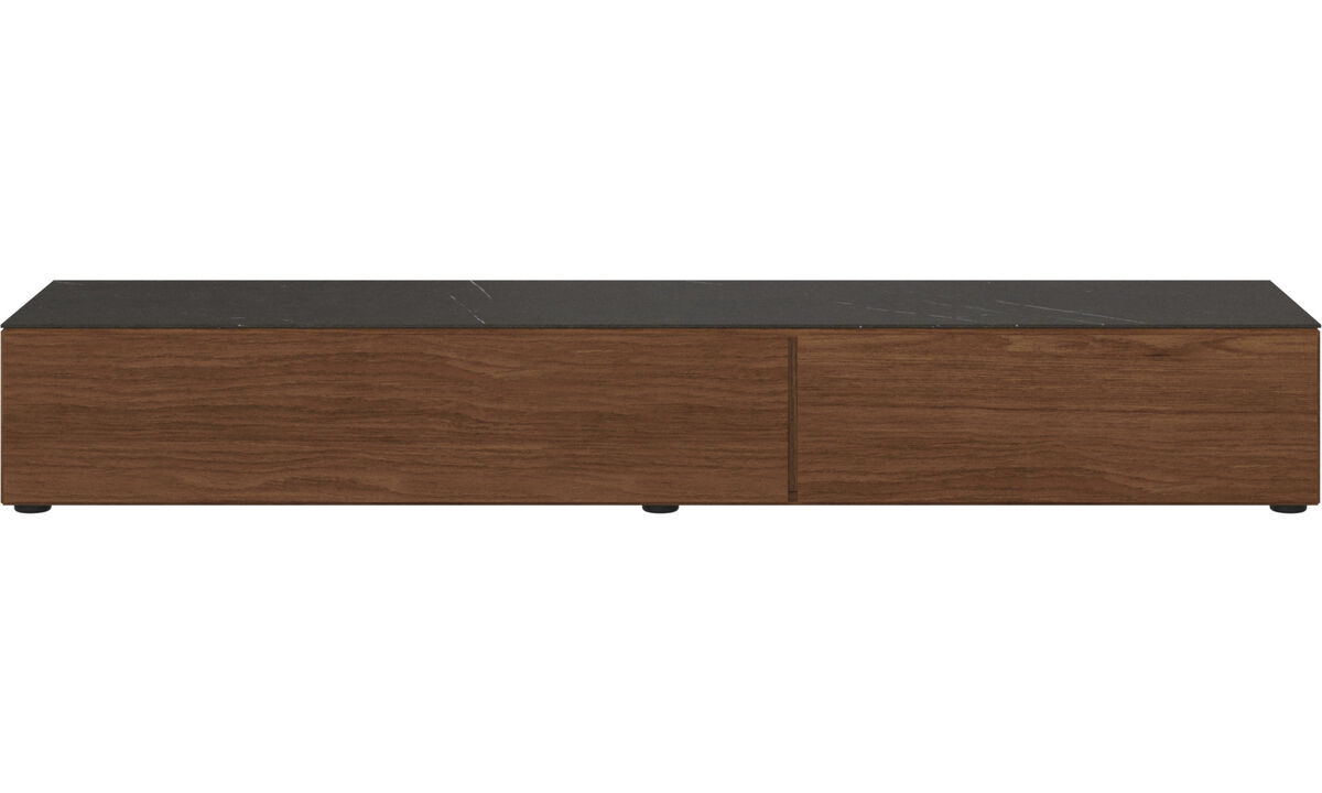 Tv units - Lugano base cabinet with drawer, drop-down door and top-plate - Black - Walnut