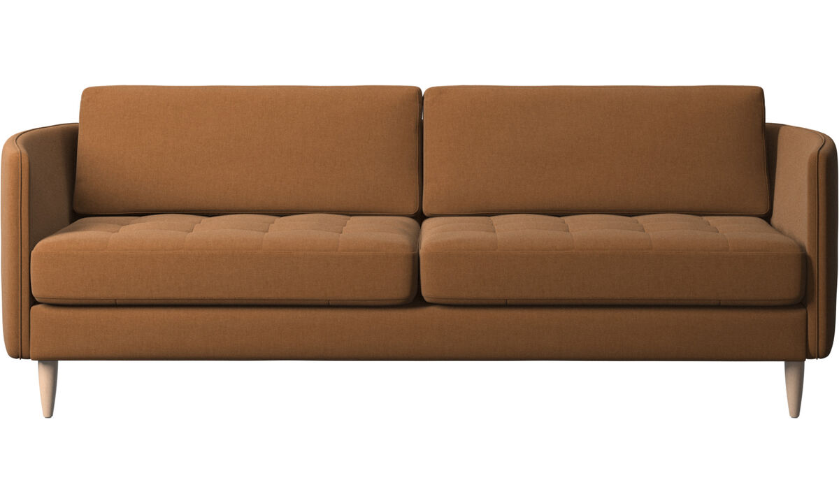 2.5 seater sofas - Osaka sofa, tufted seat - Brown - Fabric
