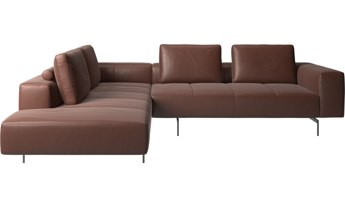 Corner sofas - Amsterdam corner sofa with lounging unit - Brown - Leather