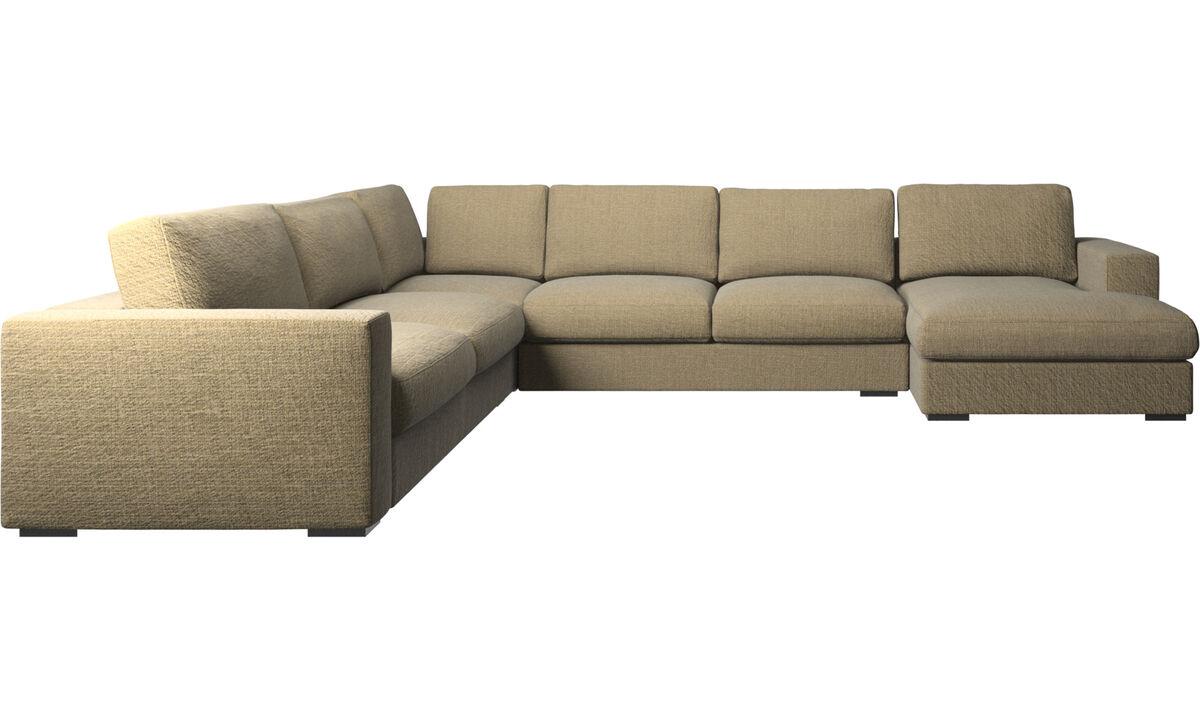 Chaise lounge sofas - Cenova corner sofa with resting unit - Yellow - Fabric