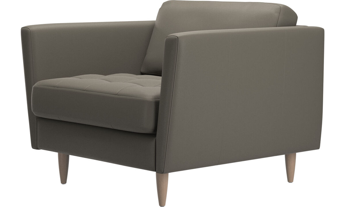 Armchairs - Osaka chair, tufted seat - Grey - Leather