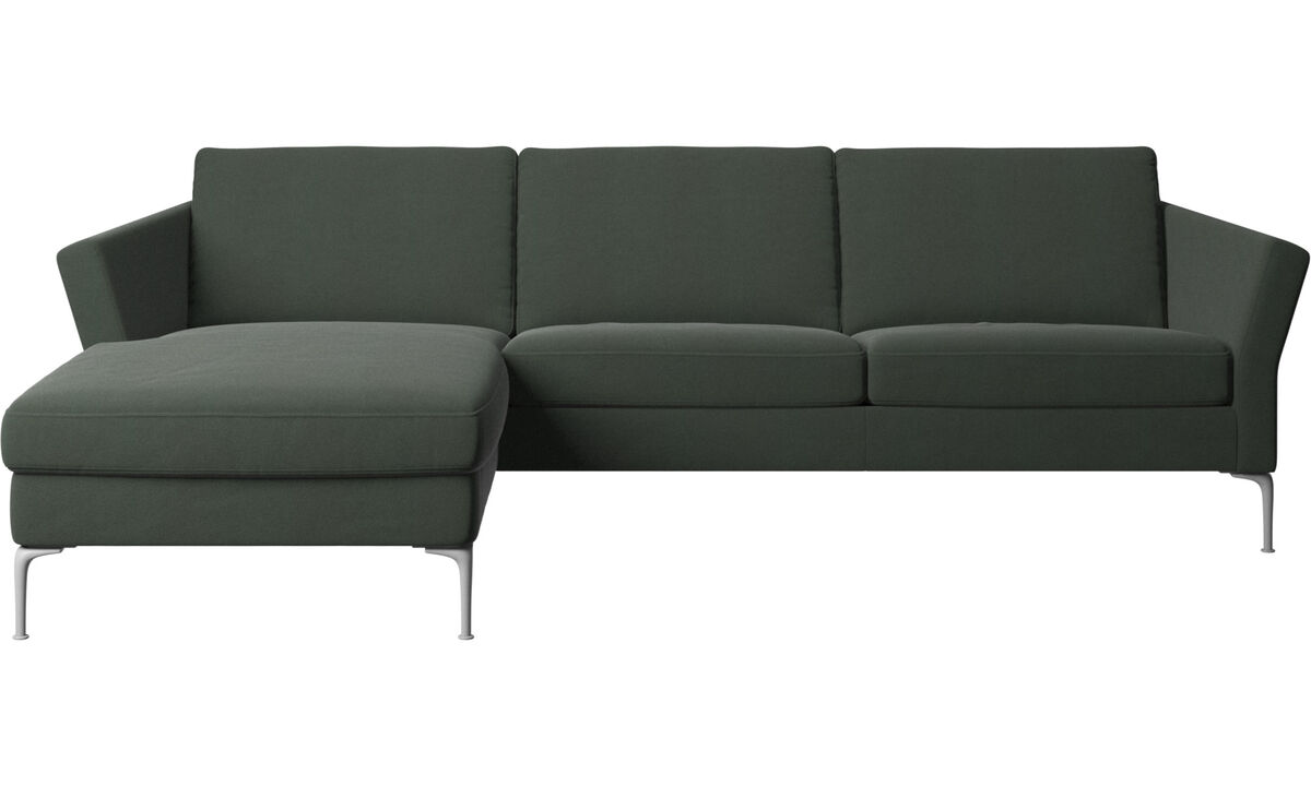 Sofás con chaise longue - sofá Marseille con módulo chaise-longue - En verde - Tela