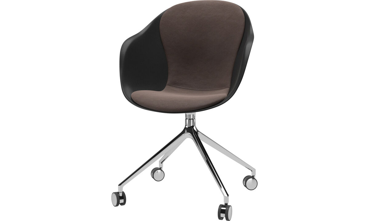 Dining chairs - Adelaide chair with swivel function and wheels - Brown - Leather