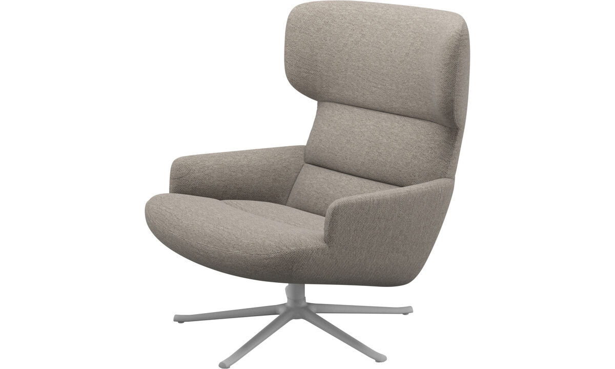 Armchairs - Trento chair with swivel function - Beige - Fabric