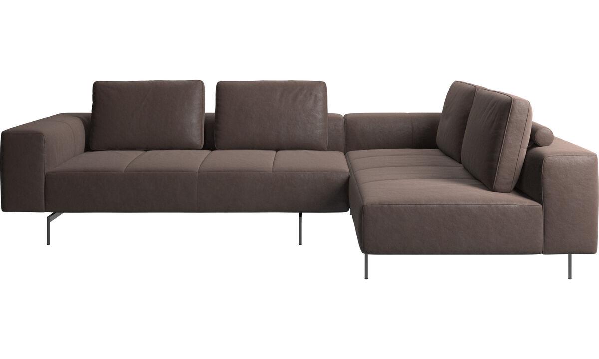 Modular sofas - Amsterdam corner sofa with lounging unit - Brown - Leather