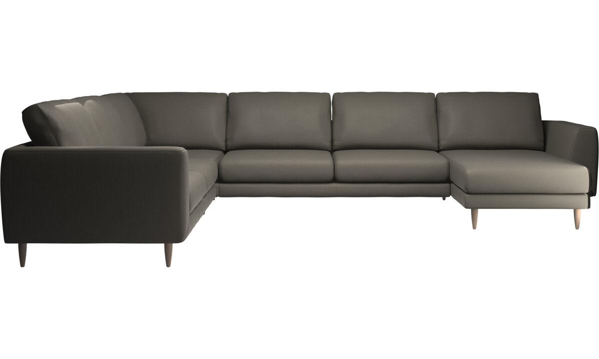 Sofás esquineros - sofá esquinero Fargo con módulo chaise-longue - En gris - Piel