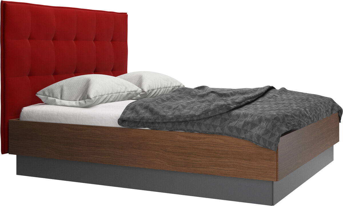 Beds - Lugano storage bed with lift-up frame and slats, excl. mattress - Red - Fabric