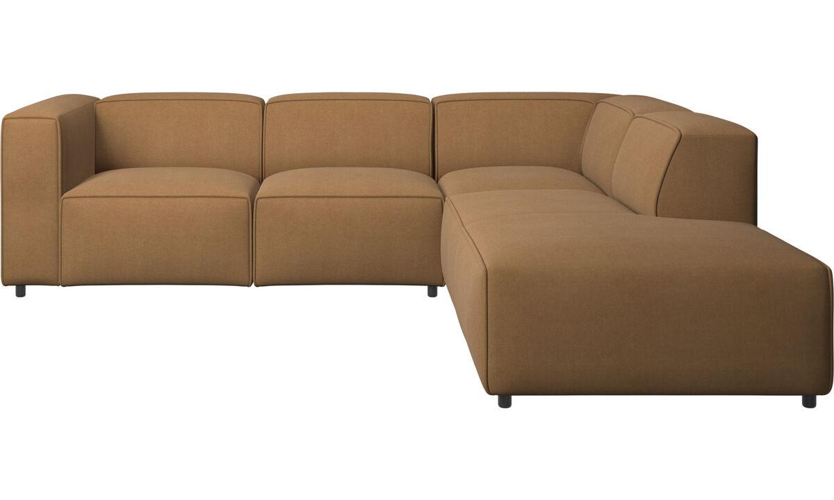 Sofás con chaise longue - Sofá esquinero Carmo con movimiento - En marrón - Tela