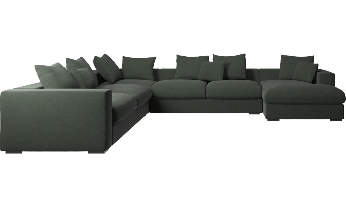 Sofás com chaise - sofá de canto Cenova com módulo chaise-longue - Verde - Tecido