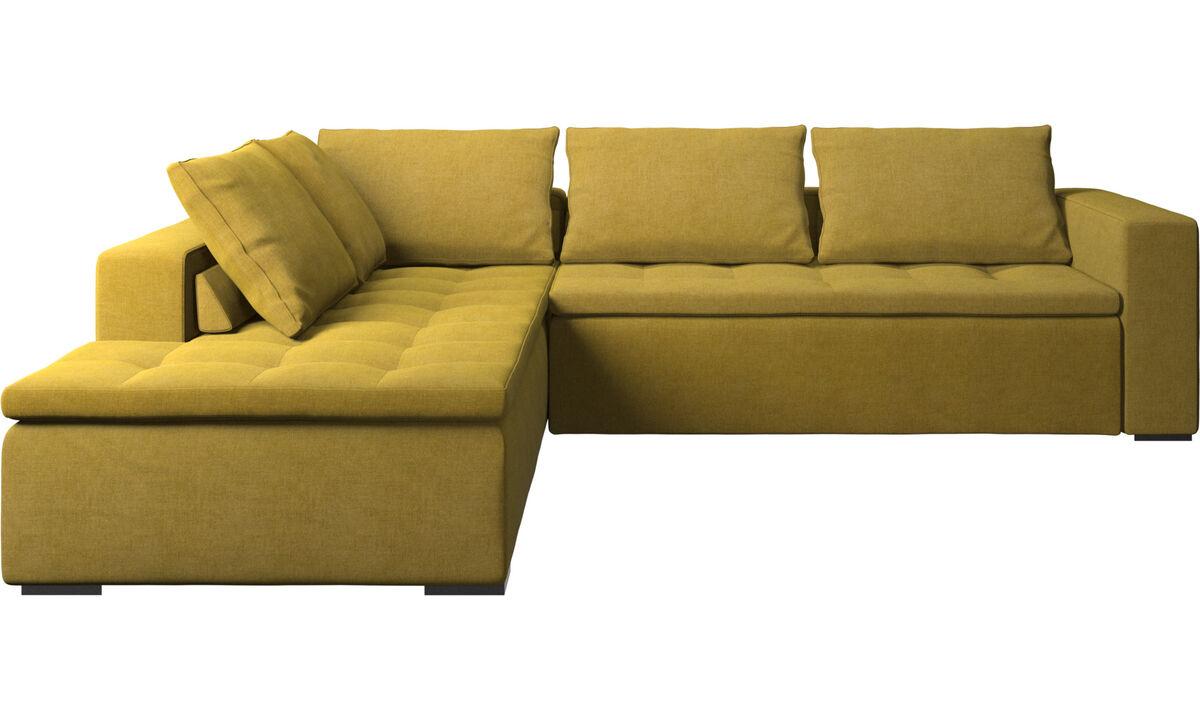Sofás esquineros - sofá esquinero Mezzo con módulo de descanso - En amarillo - Tela