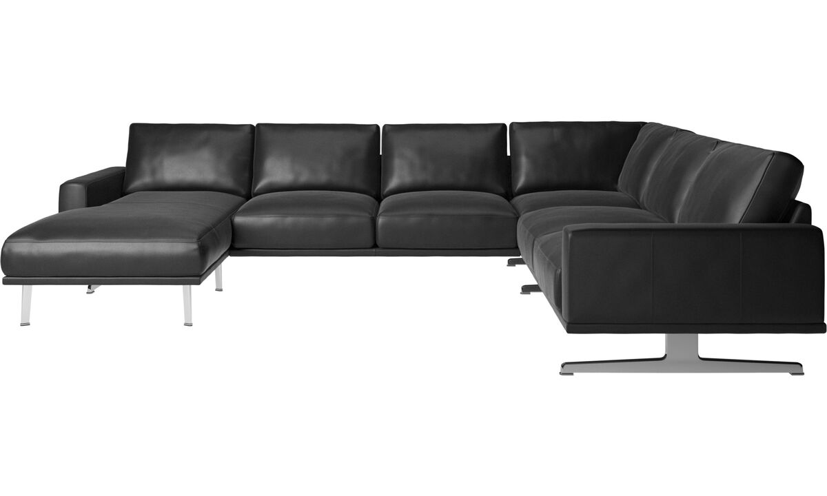 Corner sofas - Carlton corner sofa with resting unit - Black - Leather