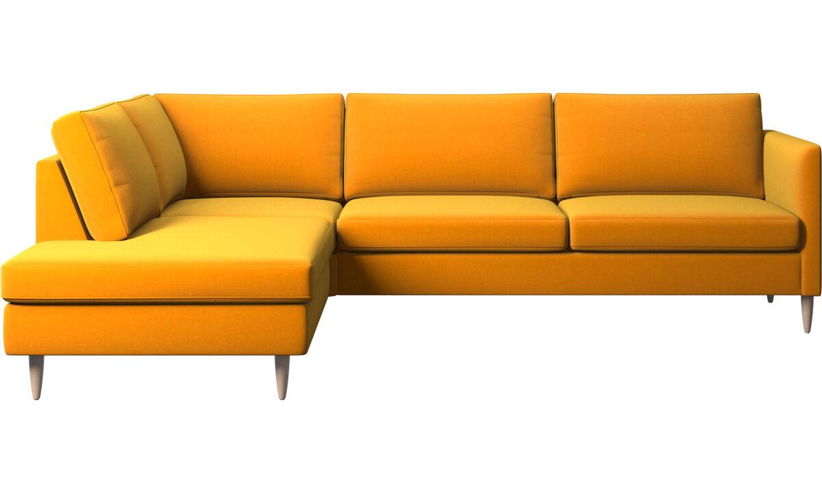 Banken met lounge element - Indivi hoekbank met relaxelement - Oranje - Stof