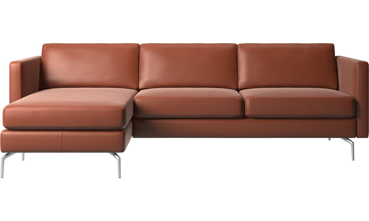 Sofás com chaise - sofá Osaka com módulo chaise-longue, assento regular - Marrom - Couro