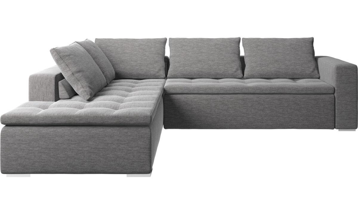 Sofás esquineros - Sofá esquinero Mezzo con módulo de descanso - En gris - Tela
