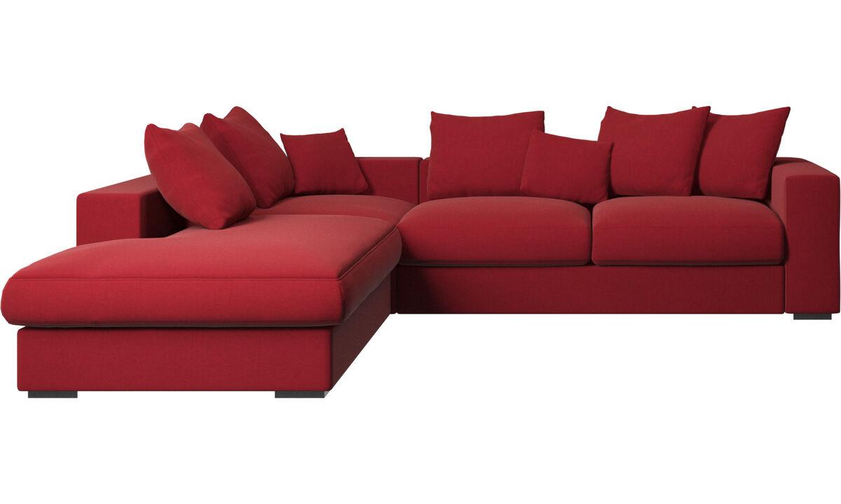 Sofás com canto aberto - Sofá Cenova com módulo de descanso - Vermelho - Tecido