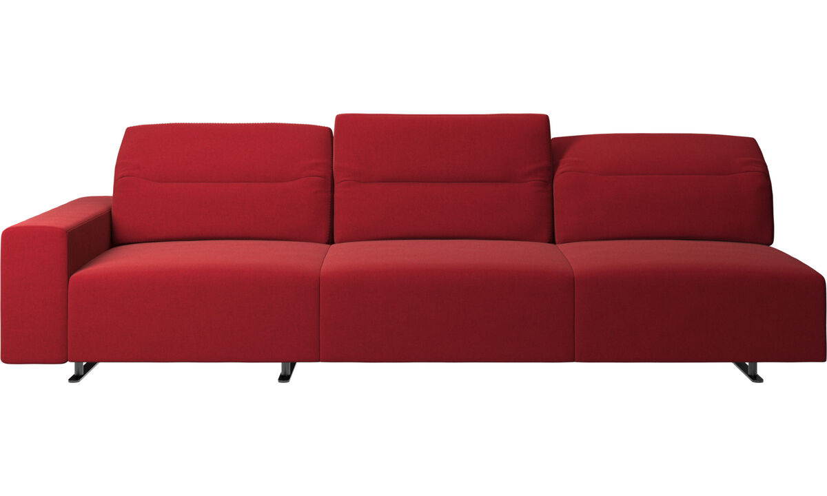 Sofás de 3 lugares - Sofá de canto Hampton com encosto ajustável e armazenamento na lateral direita - Vermelho - Tecido