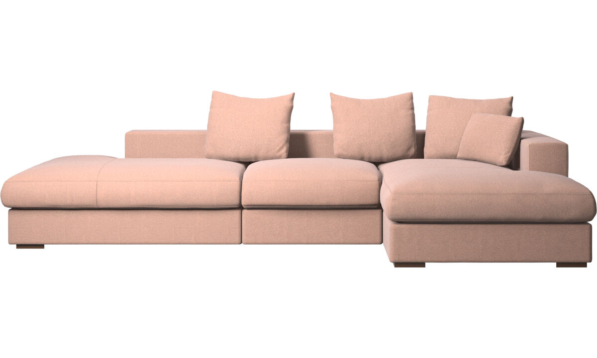 3 seater sofas - Cenova sofa with lounging and resting unit - Red - Fabric