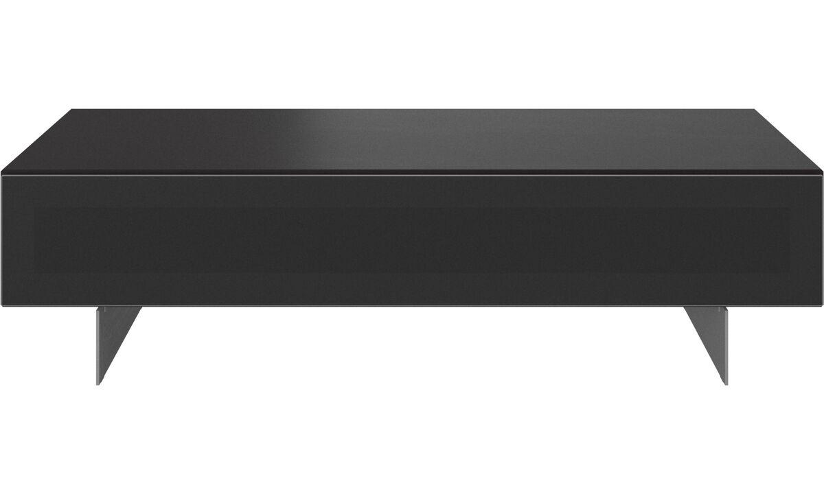 Tv units - Lugano entertainment unit with drop-down door - Black - Oak