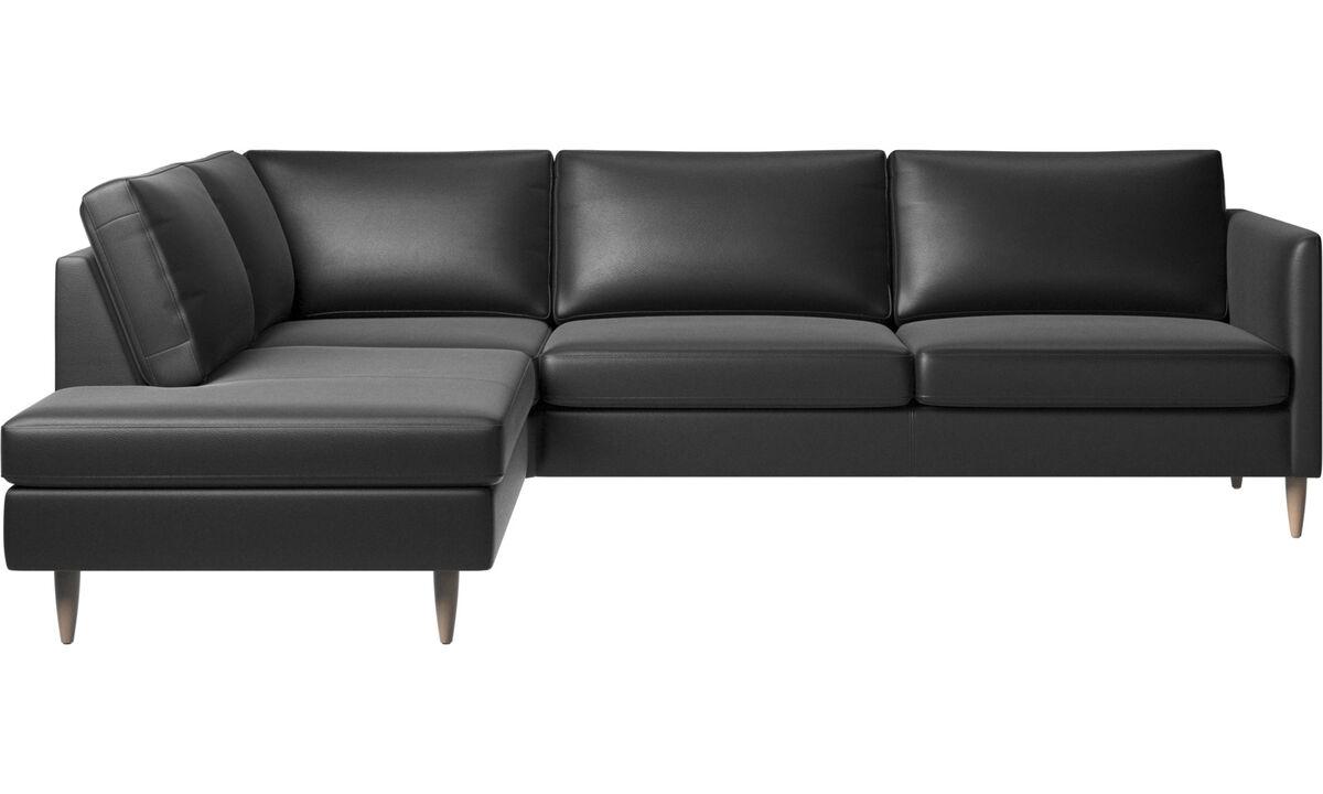 Banken met lounge element - Indivi hoekbank met relaxelement - Zwart - Leder