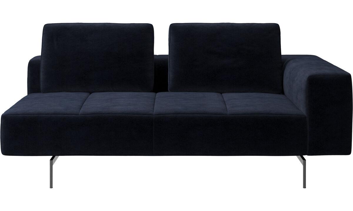 Modular sofas - modulo seduta Amsterdam 2,5, bracciolo destro - Blu - Tessuto