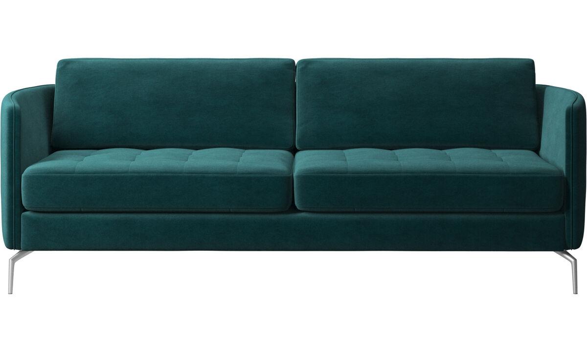 2,5 θέσιοι καναπέδες - Καναπές Osaka, καπιτονέ μαξιλάρι καθίσματος - Μπλε - Ύφασμα