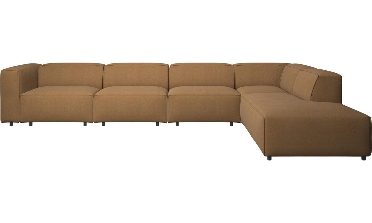 Sofas with open end - Carmo motion corner sofa - Brown - Fabric