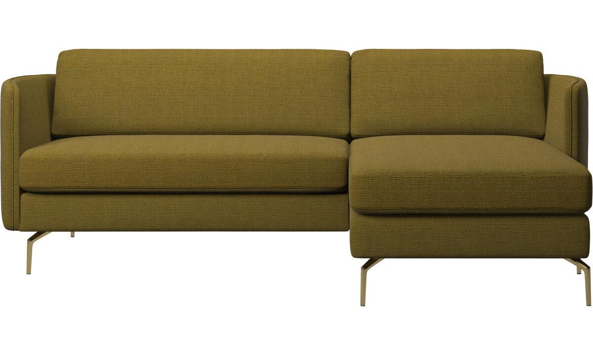 Canapés avec chaise longue - Canapé Osaka avec chaise longue, assise classique - Jaune - Tissu