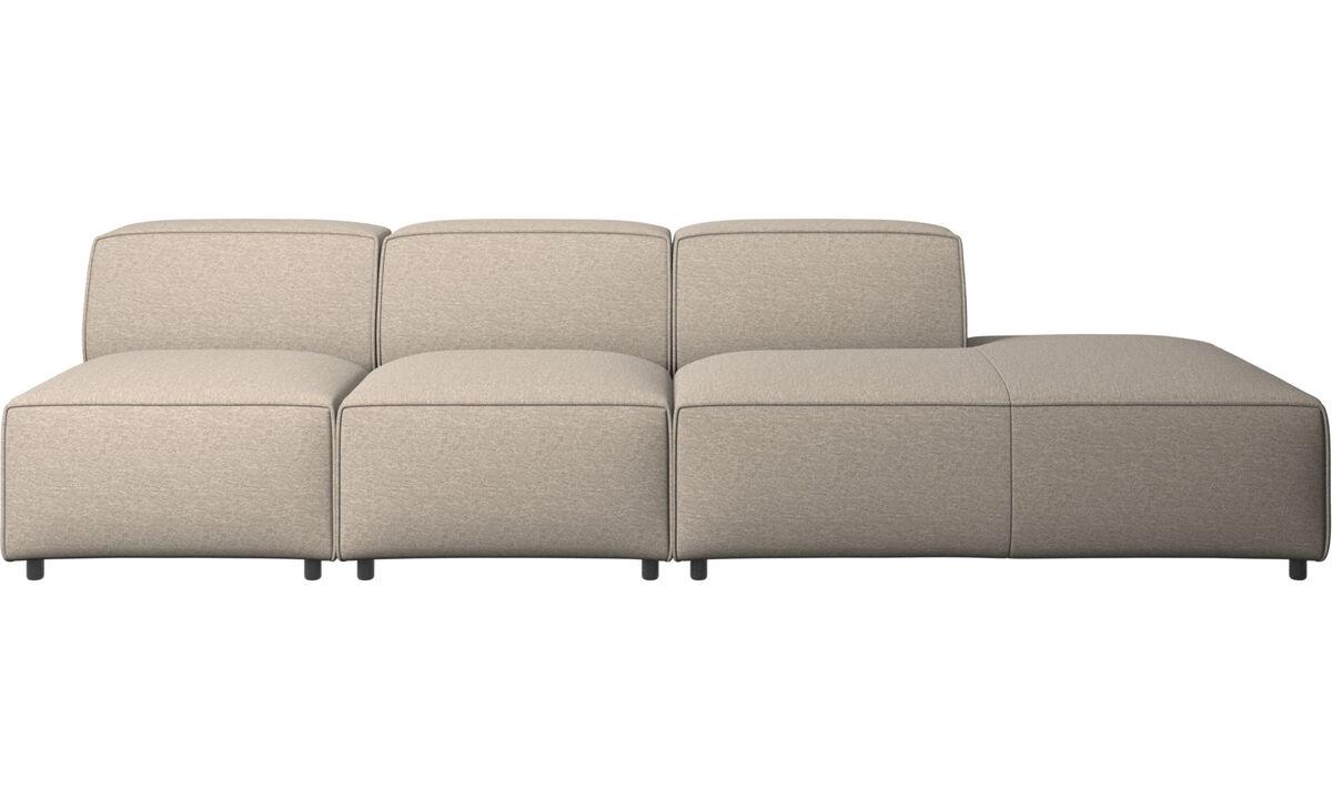 Sofás modulares - Sofá Carmo con módulo de descanso - En beige - Tela