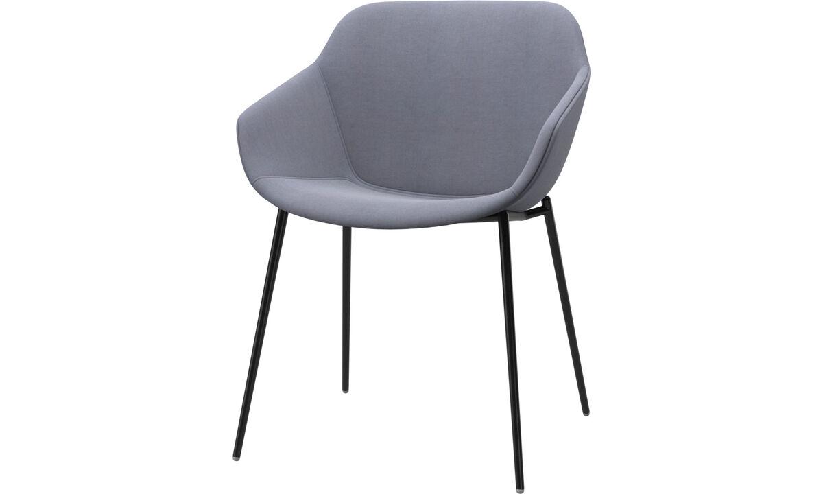Chaises de salle à manger - chaise Vienna - Bleu - Tissu