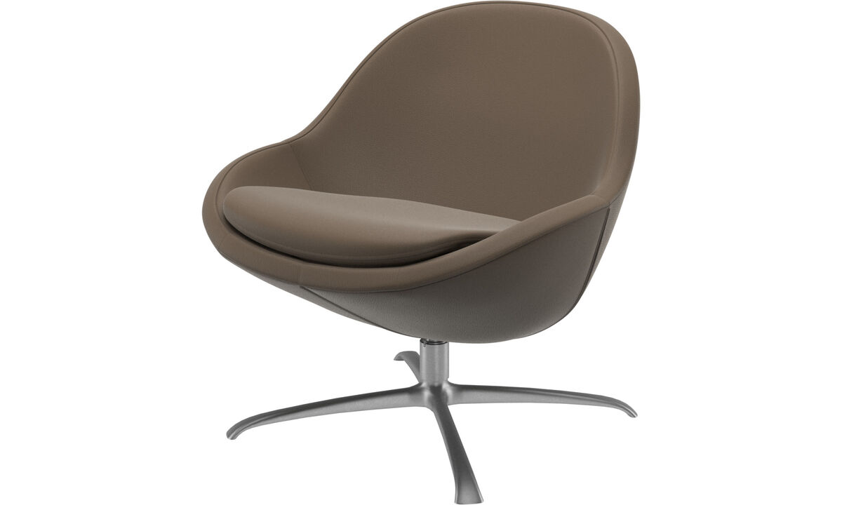 Armchairs - Veneto chair with swivel function - Grey - Leather