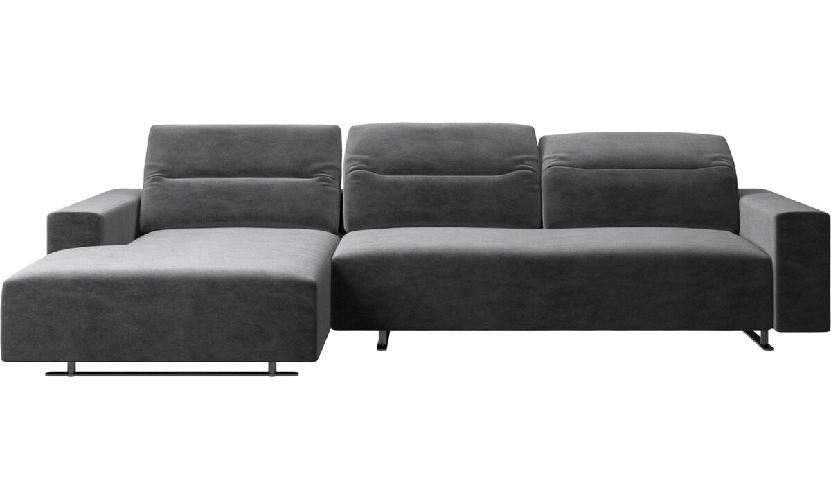 Chaise longue sofas - Hampton sofa with adjustable back, resting unit and storage left side - Grey - Fabric