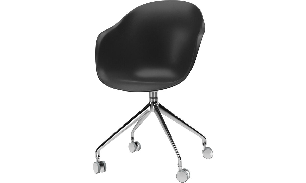 Dining chairs - Adelaide chair with swivel function and wheels - Black - Metal