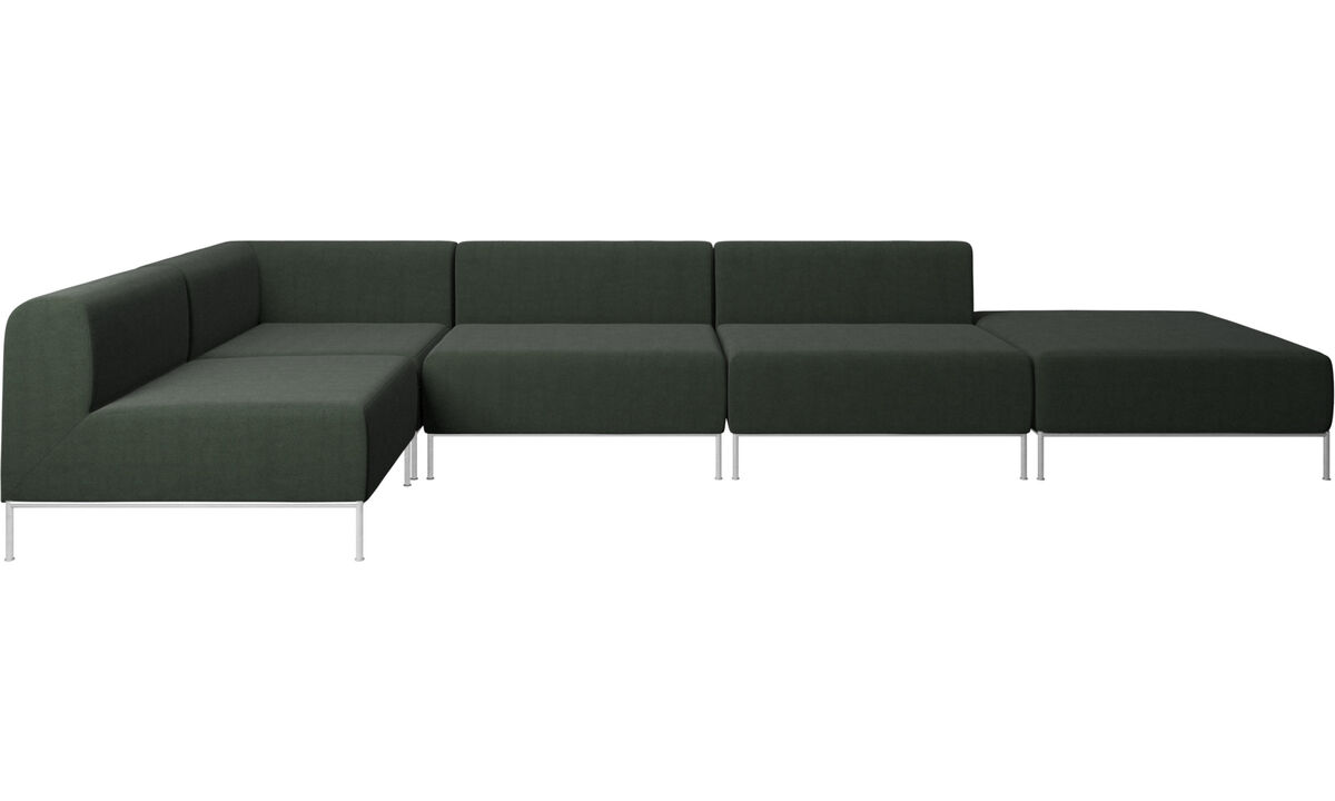 Modular sofas - Miami corner sofa with footstool on right side - Green - Fabric